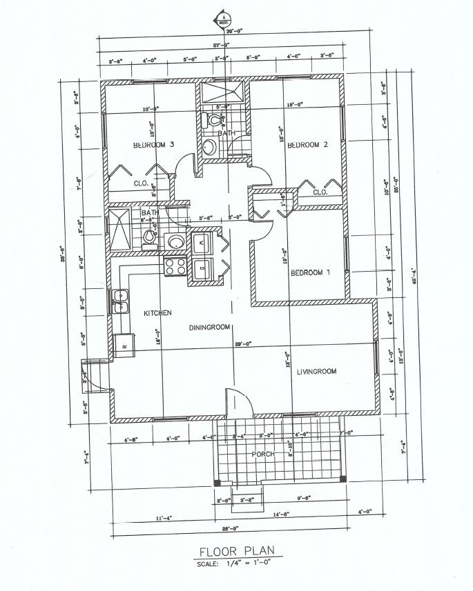 (LA Development ) The Cherry 3 Bed 2 Bath Floor Plan 1159 sq ft $245K~