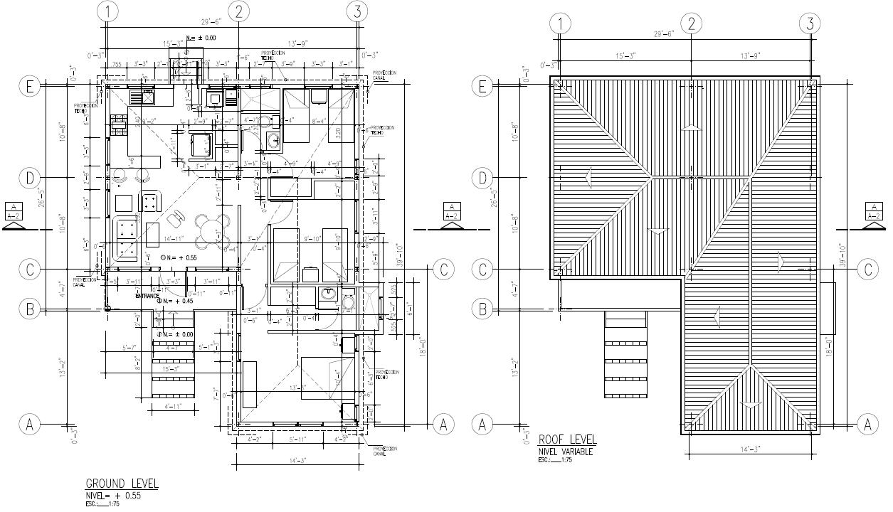CHORONI - 3 BEDROOMS Floor/Roof Plan 1007 SQ FT $332,715.00