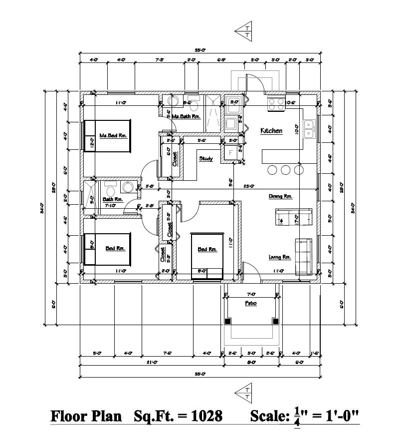 (William Sharon & Friends) Golden Apple 3 Bed 2 Bath Floor Plan 1028 sq ft $235k~