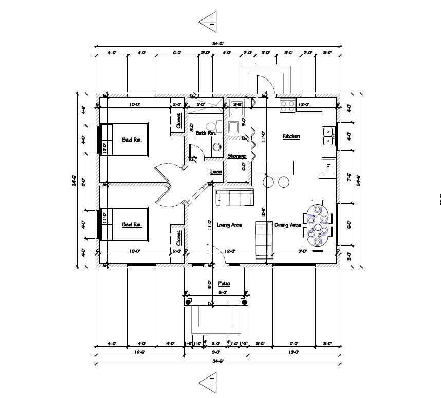 (William Sharon & Friends)  Plum 2 Bed 1 Bath Floor Plan  805 sq ft $185k~