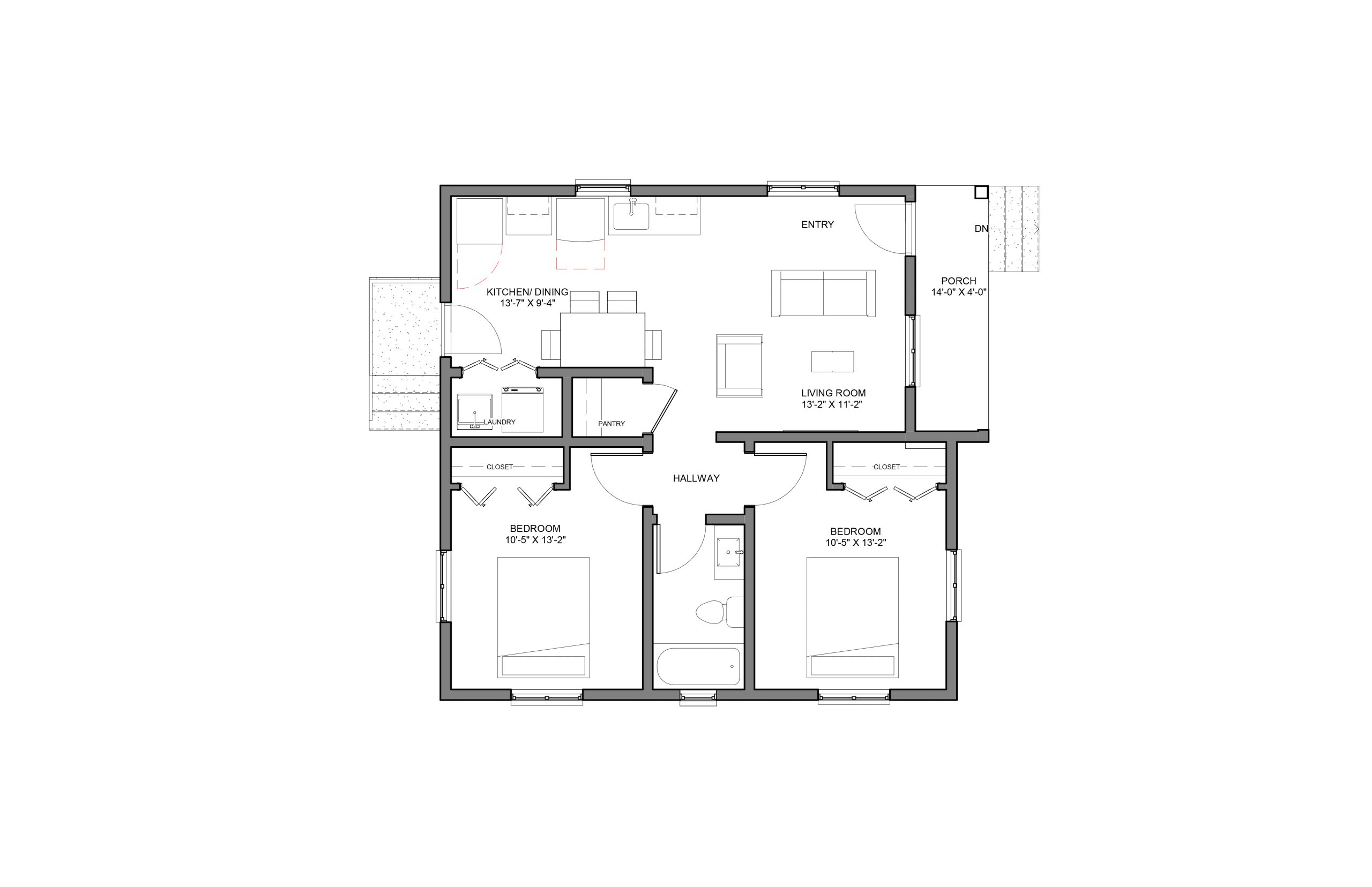 Beam 2Bed 1Bath Option 1 Floor Plan 840+SQFT