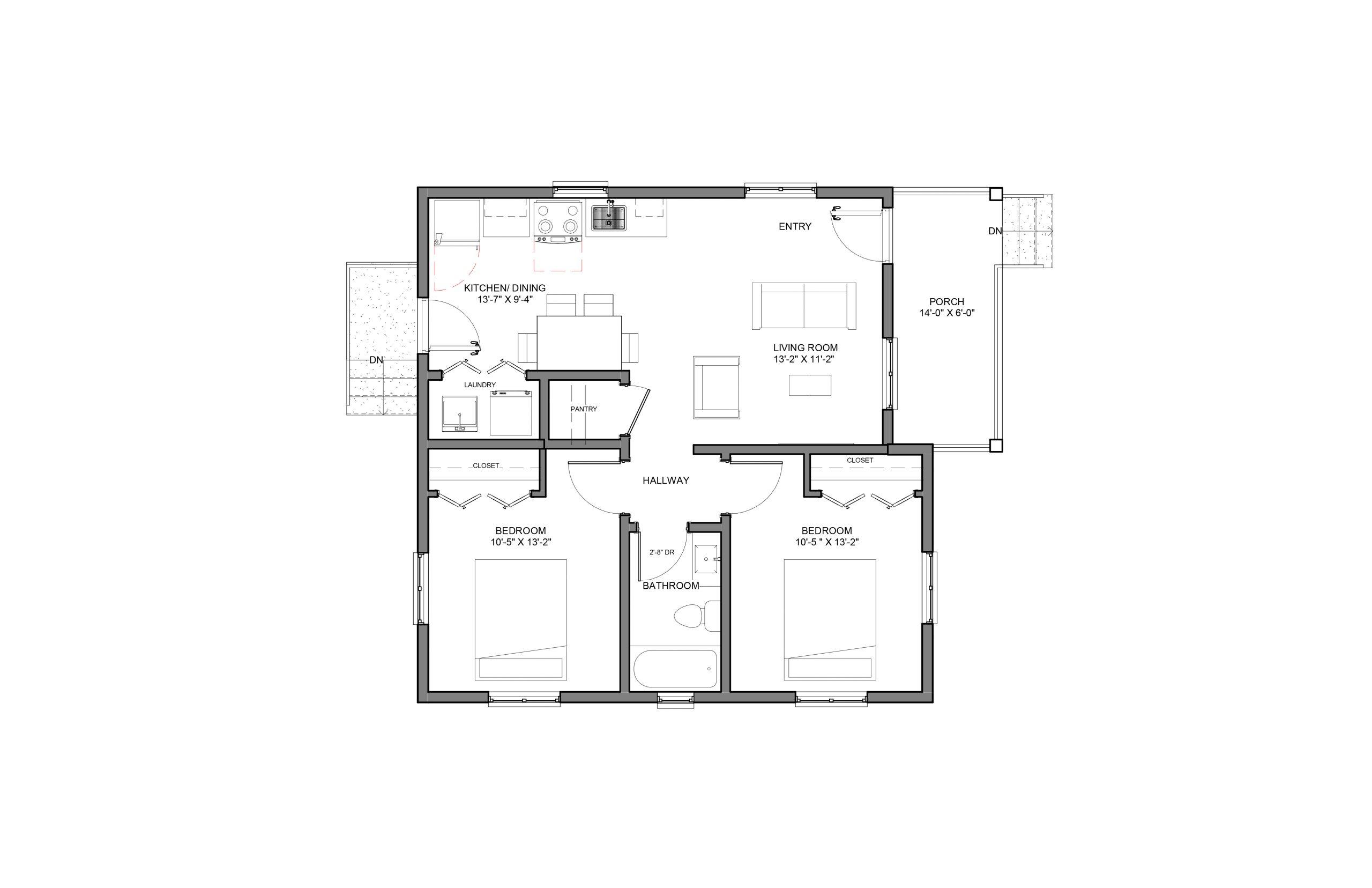 Torch 2Bed 1Bath Option 2 Floor Plan 850+SQFT