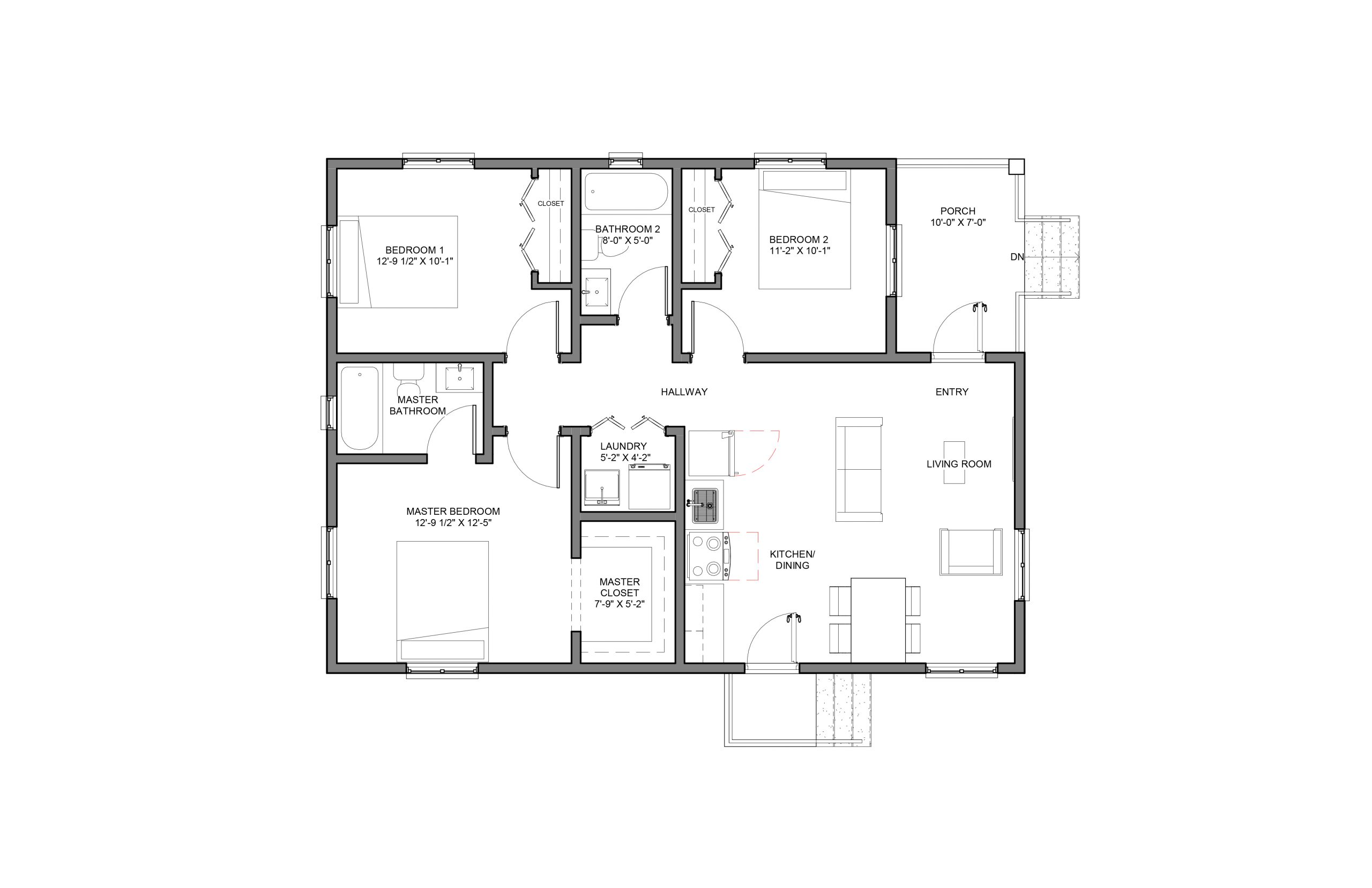 Lodestar 3Bed 2Bath Floor Plan Option 1 1060+SQFT