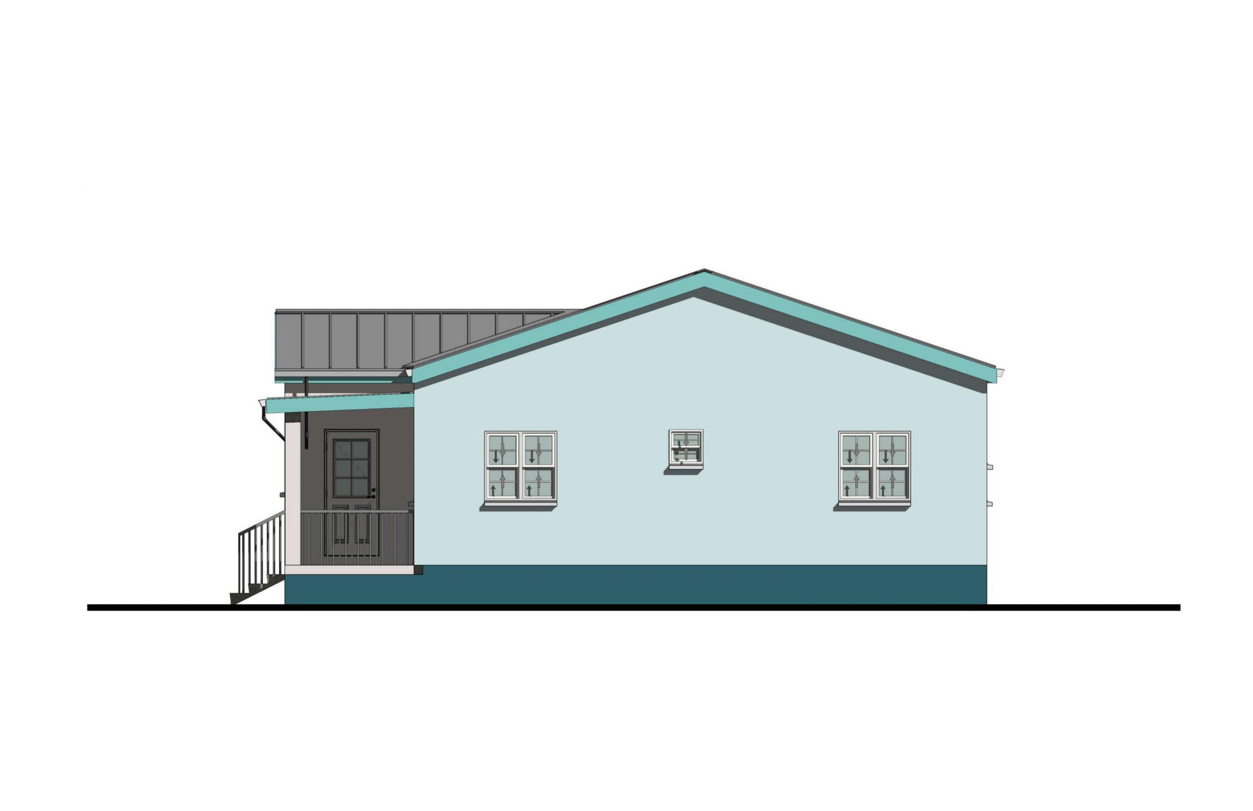 Lodestar 3 Bed  2Bath Option 1 Side Elevation B 1060+SQFT