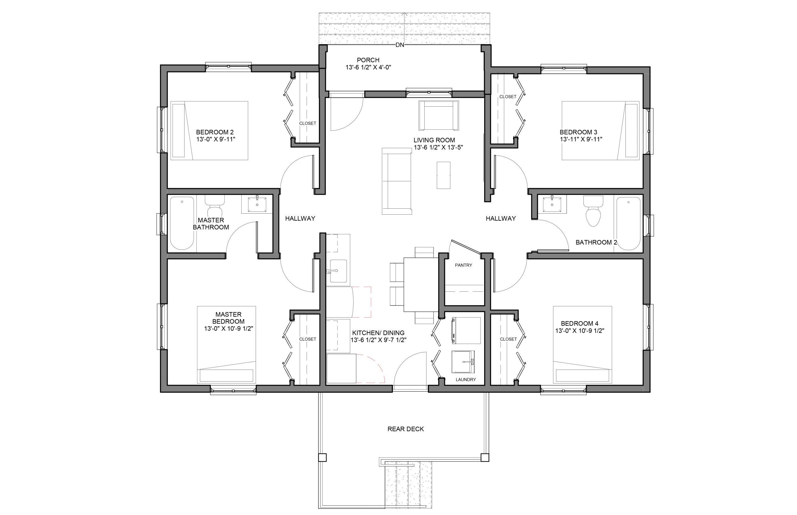 Beacon 4Bed 2Bath Option 1 Floor Plan 1290+SQFT