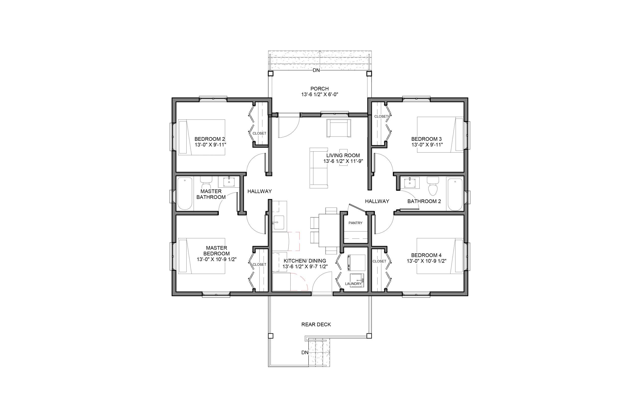 Beacon 4Bed 2Bath Option 2 Floor Plan 1340+SQFT
